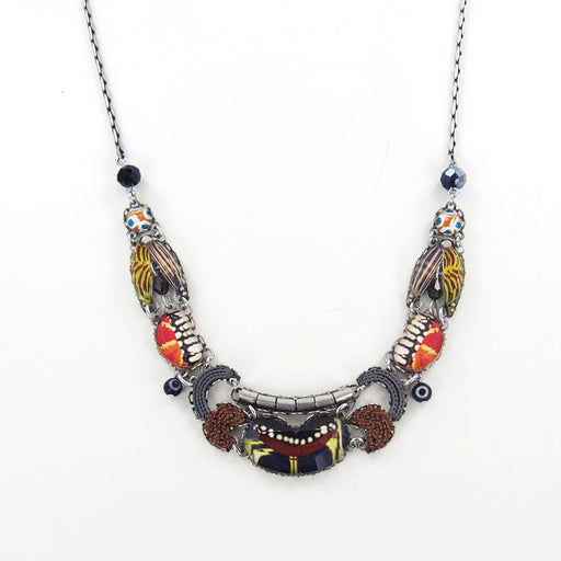 SUNDOWN CHANT NECKLACE AYALA BAR RED BLACK AND YELLOW BIB ADJUSTABLE NECKLACE