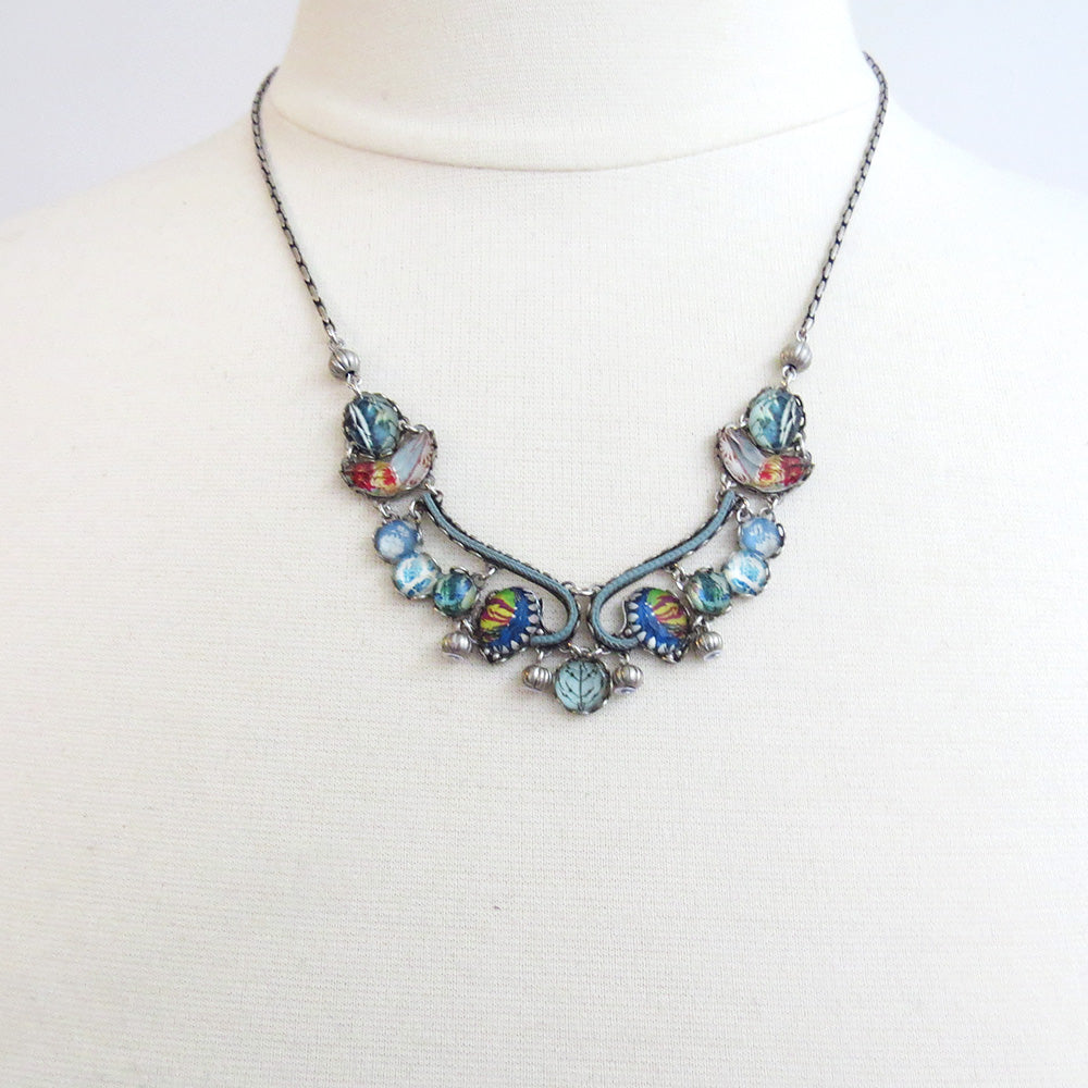 VELVET EMPORIUM NECKLACE AYALA BAR BLUE BIB NECKLACE