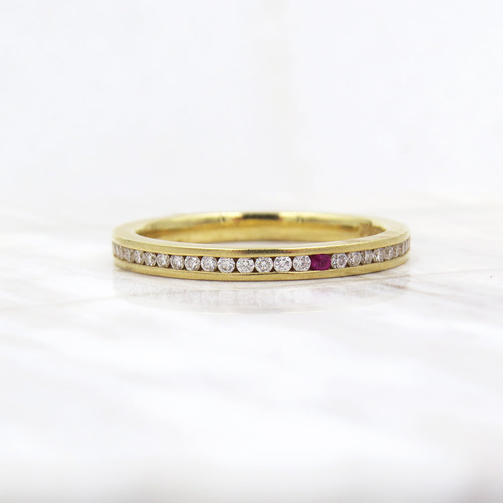 DIAMOND AND PINK SAPPHIRE LINE BAND