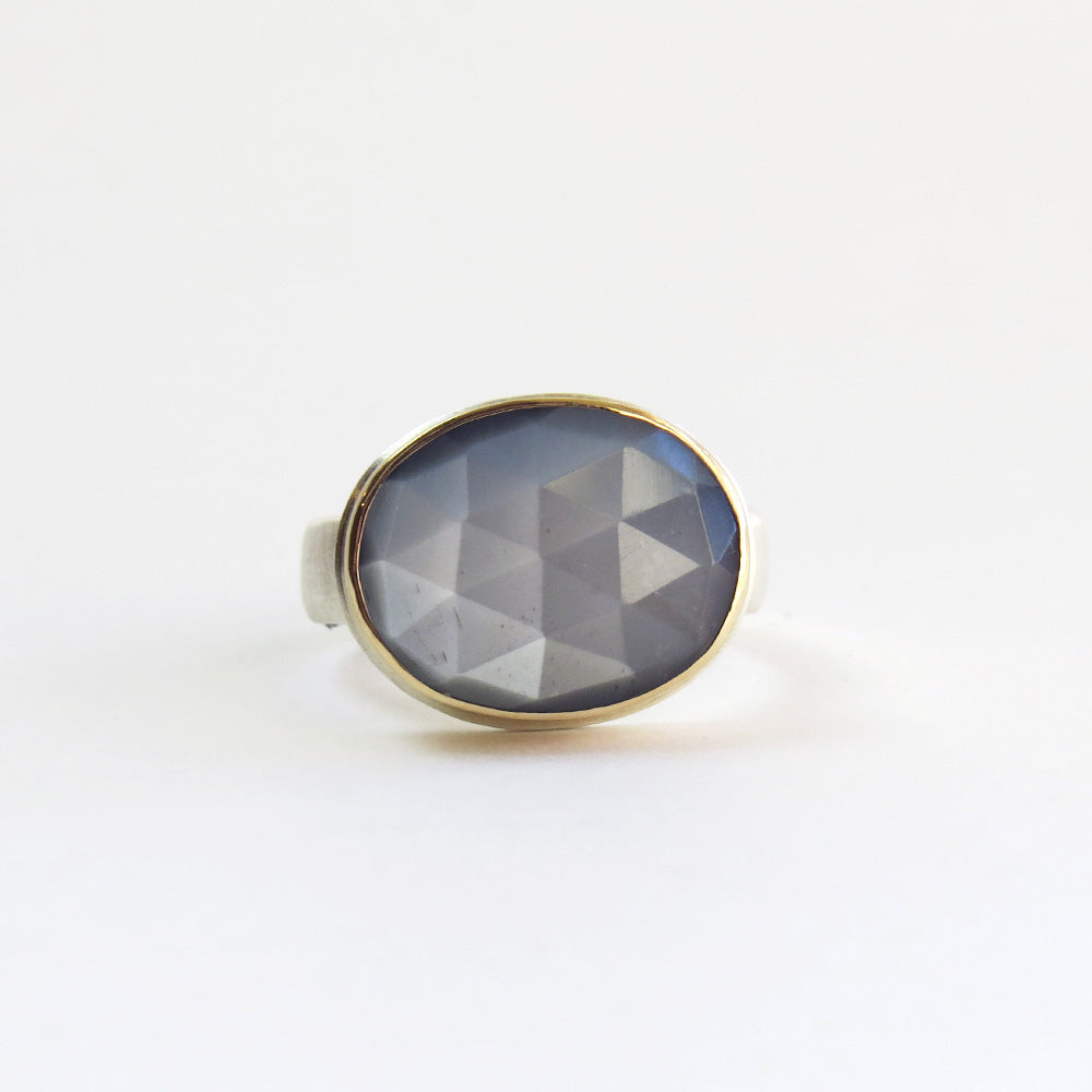 JAMIE JOSEPH OVAL ROSE CUT GREY MOONSTONE RING