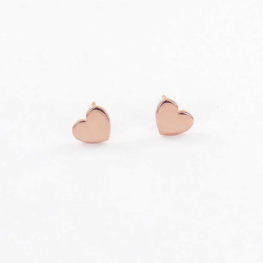 Little Flat Heart Studs in Rose Gold
