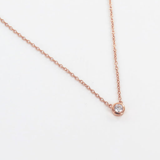 ROSE GOLD CZ SOLITAIRE NECKLACE