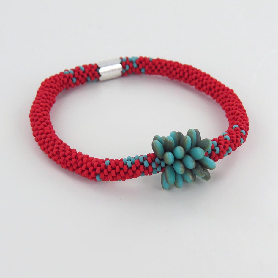 RED AND TURQUOISE RICE GRAIN BRACELET