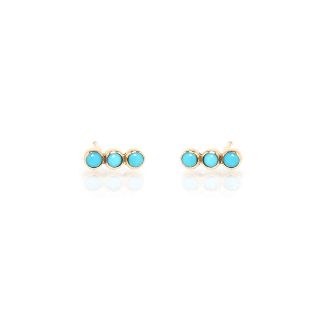 14K Gold  Studs with 3 Straight Bezel Set Turquois