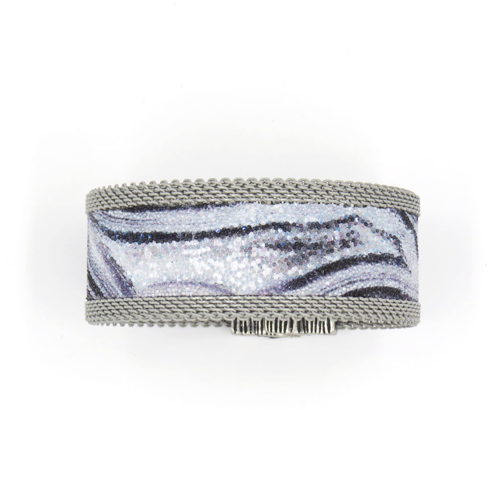 BLACK AND SILVER AGATE NARROW CUFF