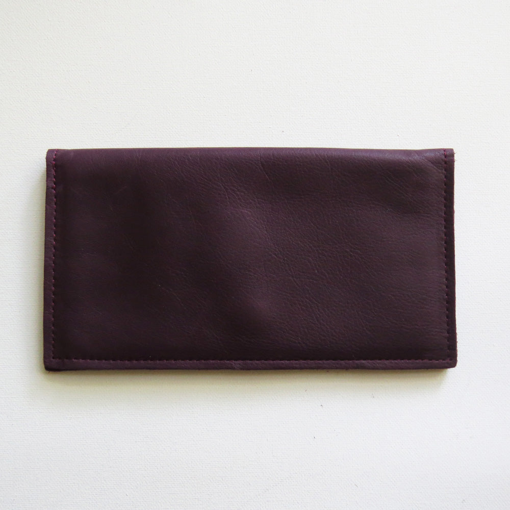 SARAH WALLET IN AUBERGINE TRACEY TANNER HANDMADE LEATHER