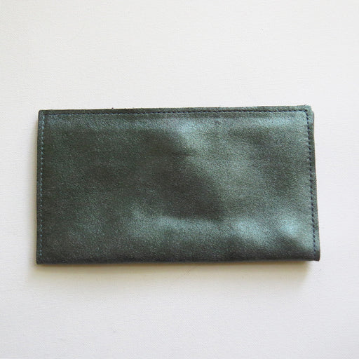 SARAH WALLET IN EVERGREEN WITH SMOKE TRACEY TANNER HANDMADE LEATHER