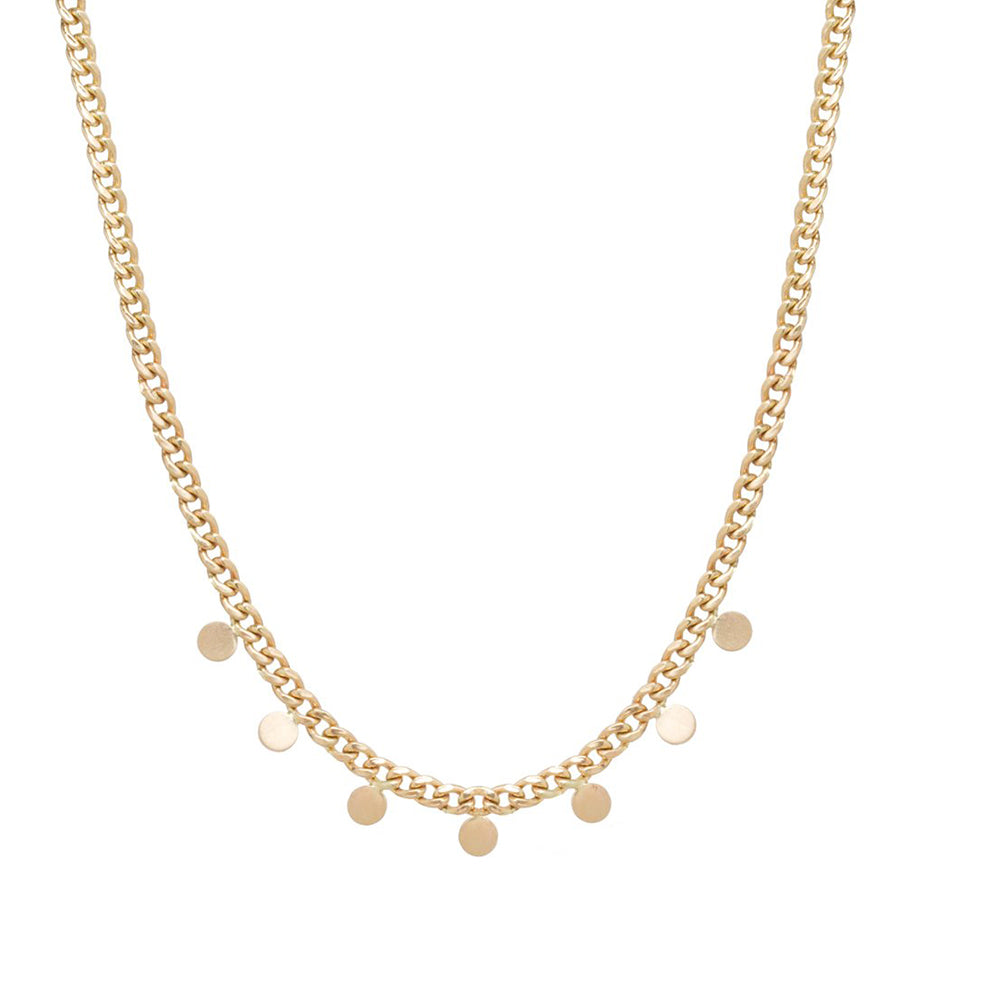 14K GOLD SMALL CURB CHAIN NECKLACE WITH 7 ITTY BIT