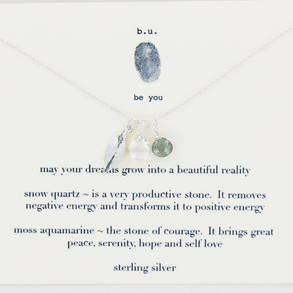 Meaningful Sterling Silver and Semi-Precious stone charm necklace, May your dreams grow into beautiful reality