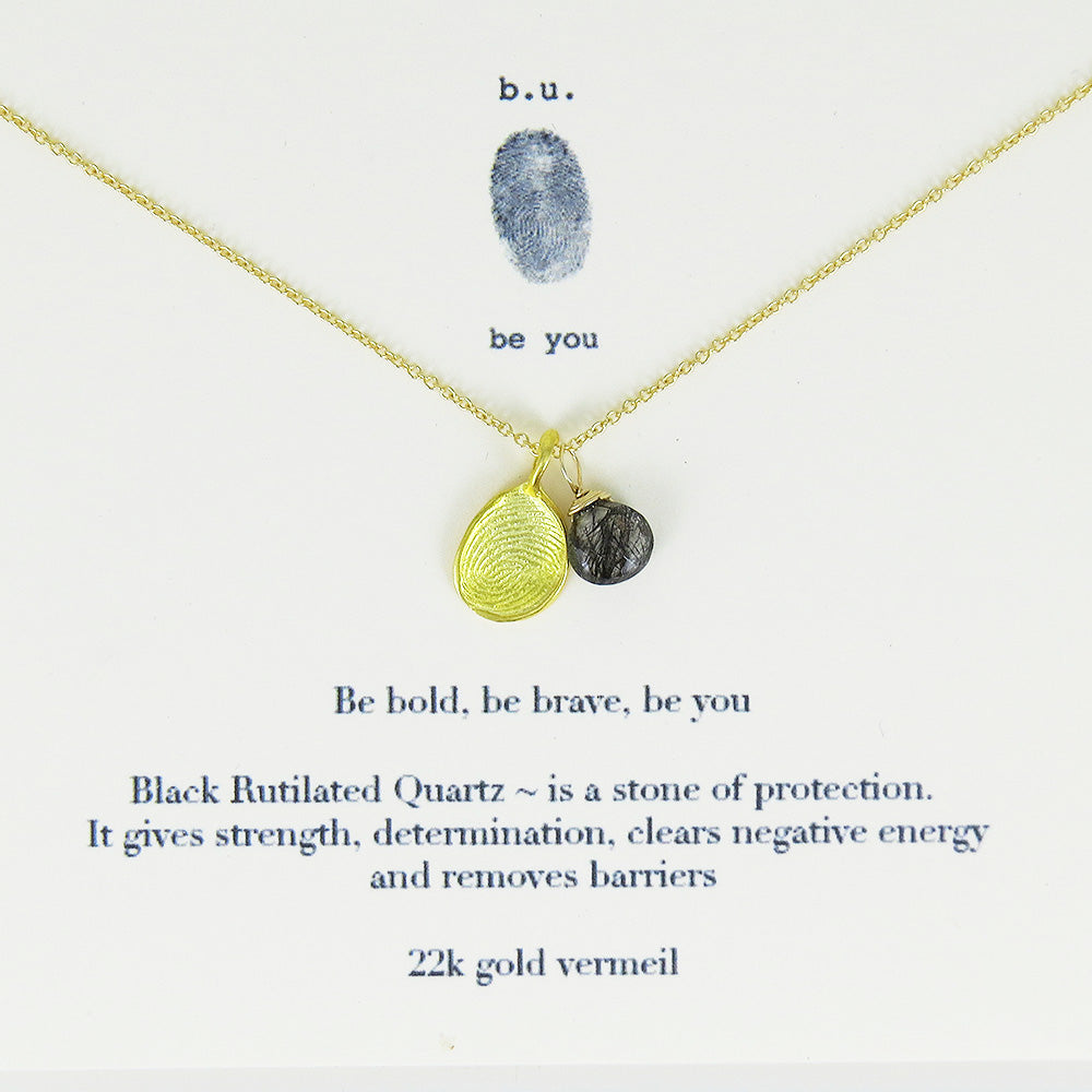 Meaningful Sterling Silver, 22k Gold Vermeil and Semi-Precious Stone charm Necklace, Be bold, be brave, be you.