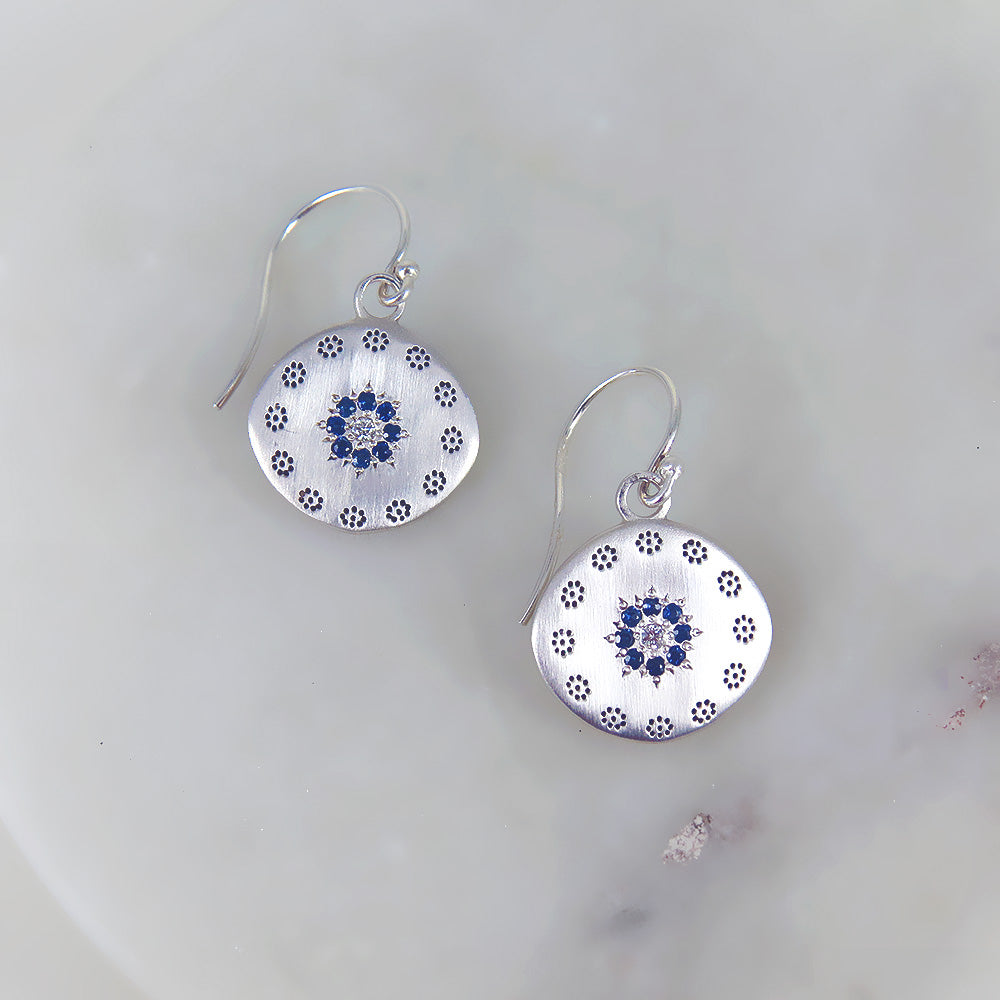 LARGE  CLUSTER SAPPHIRE CIRCLE EARRINGS