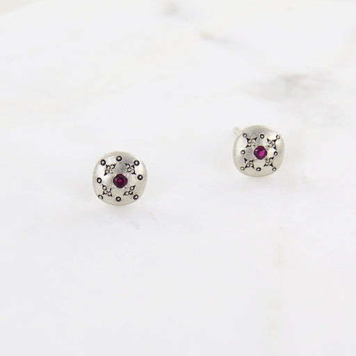 SILVER LIGHTS RUBY STUD EARRINGS