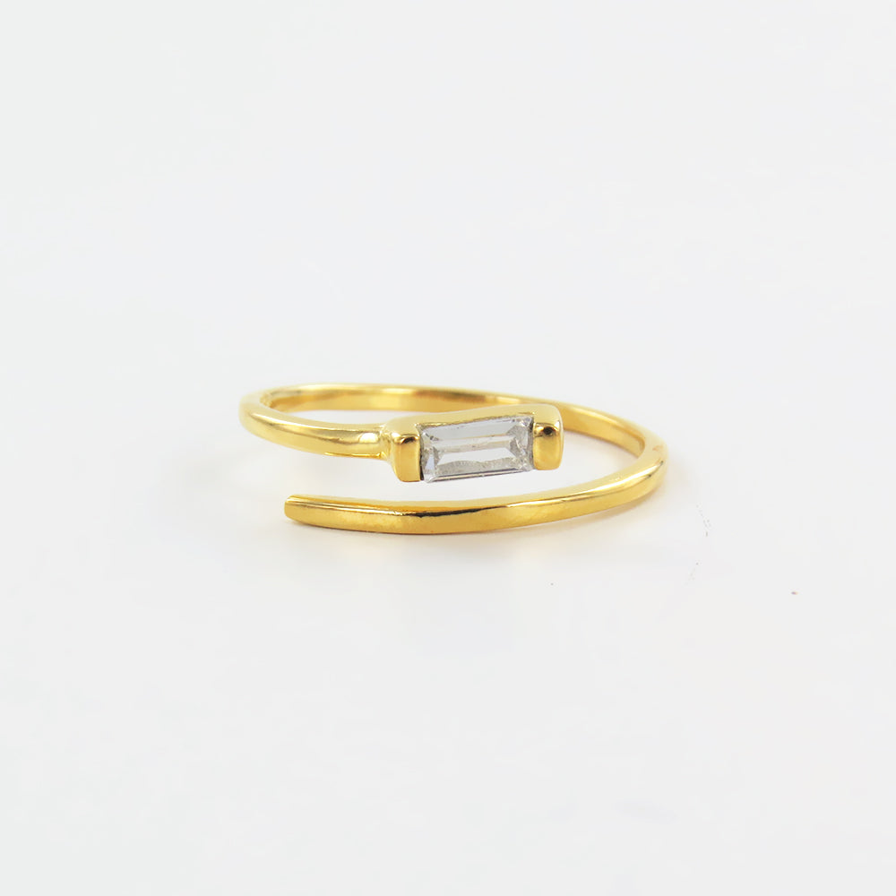 GOLD PLATED OPEN SPIRAL RING WITH ZIRCON