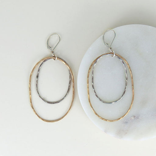 STATEMENT HAMMERED TWO TONE OVAL EARRING