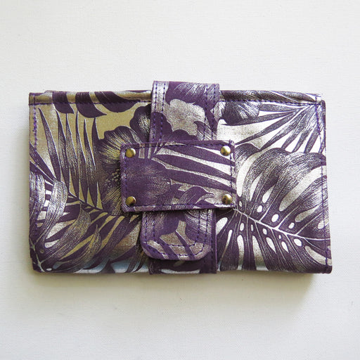 SOPHIA WALLET IN PURPLE PALM TRACEY TANNER HANDMADE LEATHER