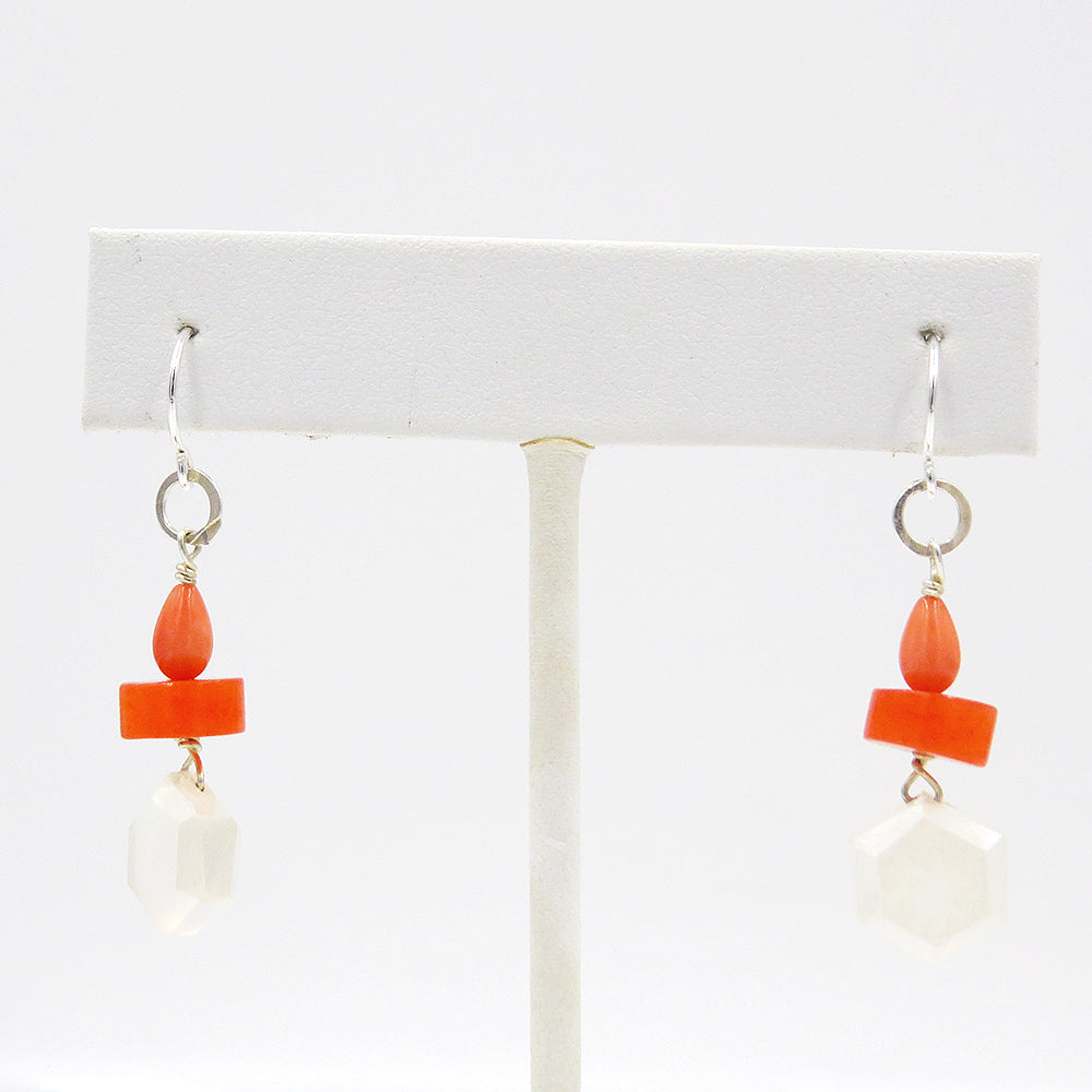 CORAL AND MOONSTONE DANGLE EARRINGS