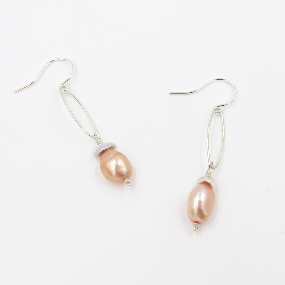 PINK AND WHITE FRESHWATER PEARL DANGLE EARRINGS