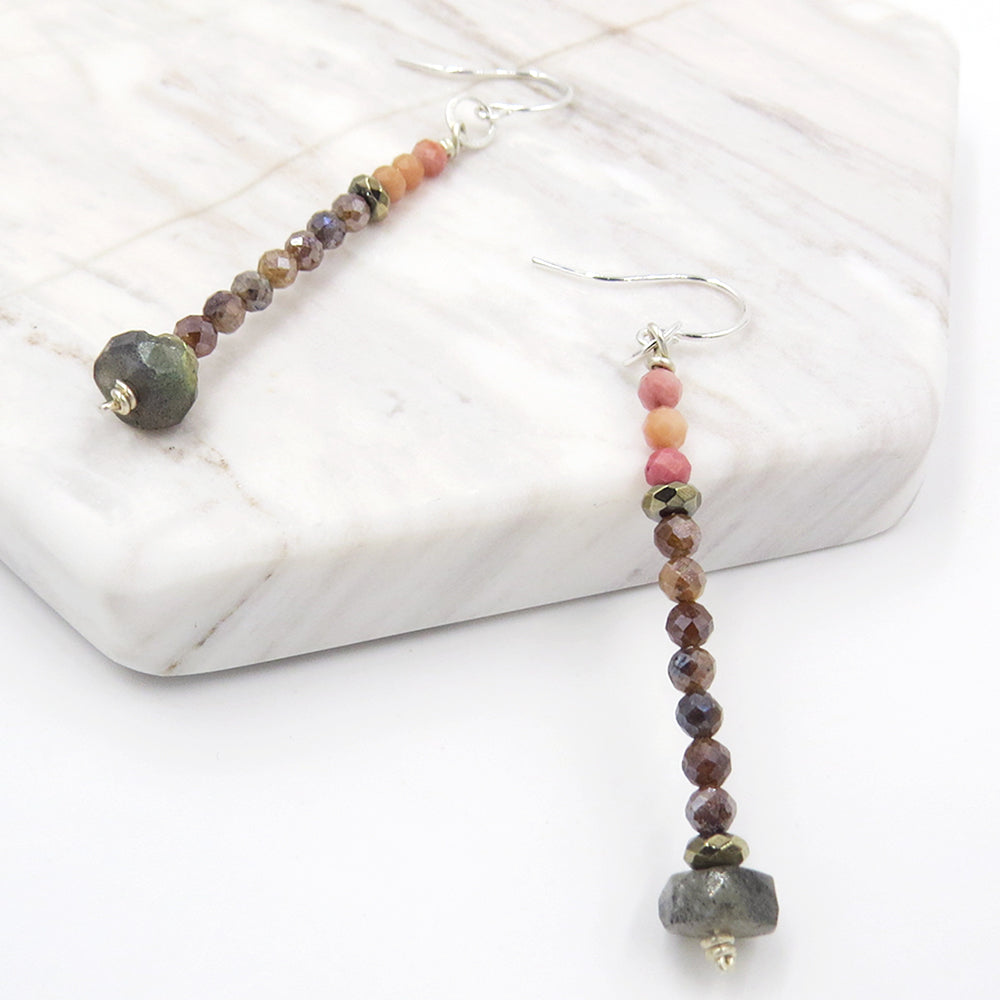 LABRADORITE AND MOONSTONE STACK EARRING