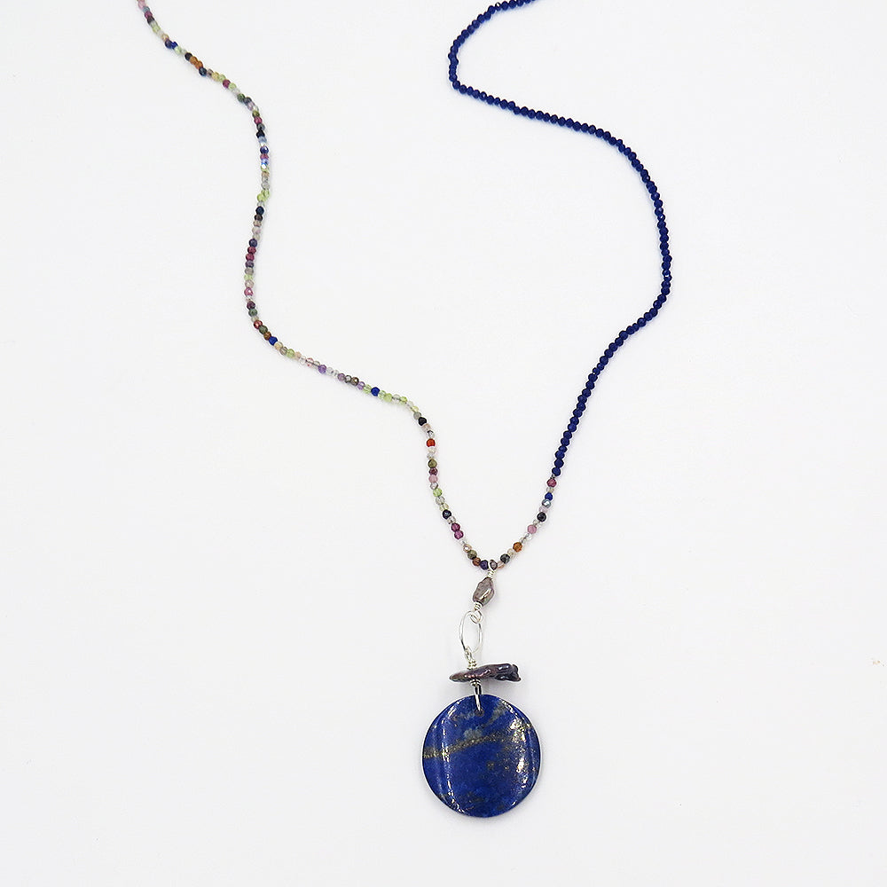 TOURMALINE AND SAPPHIRE MIX LAPIS PENDANT NECKLACE