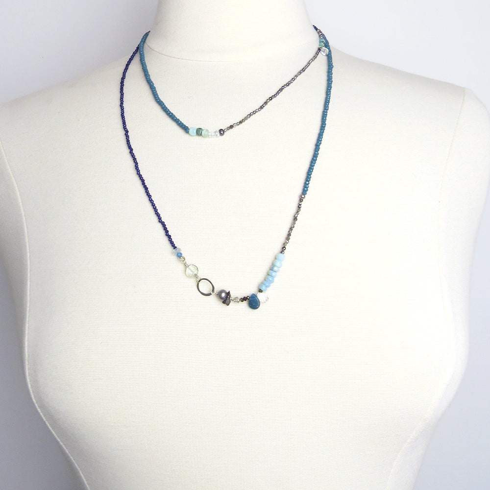 SAPPHIRE AND STONE MIX NECKLACE