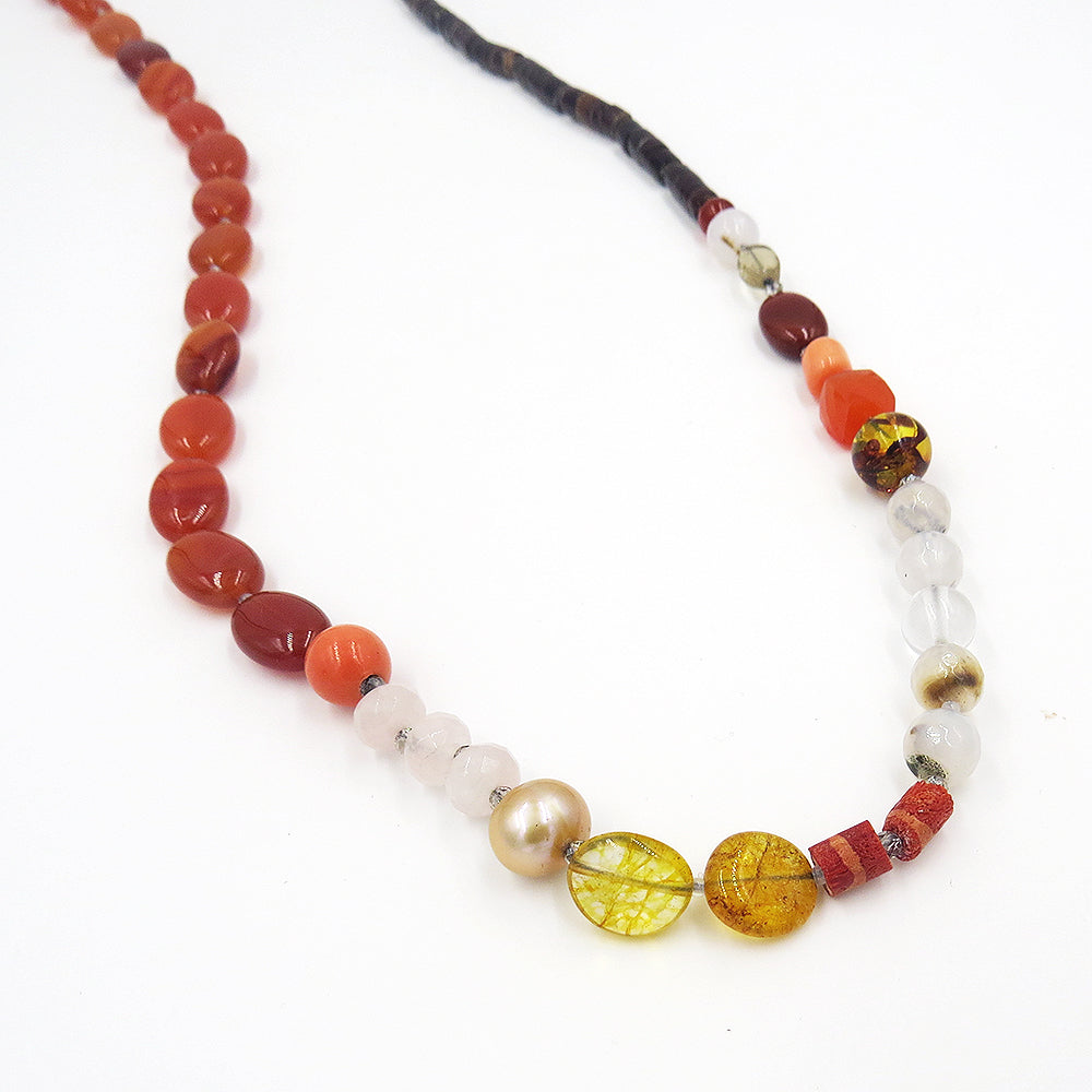 CARNELIAN SHELL MIX NECKLACE