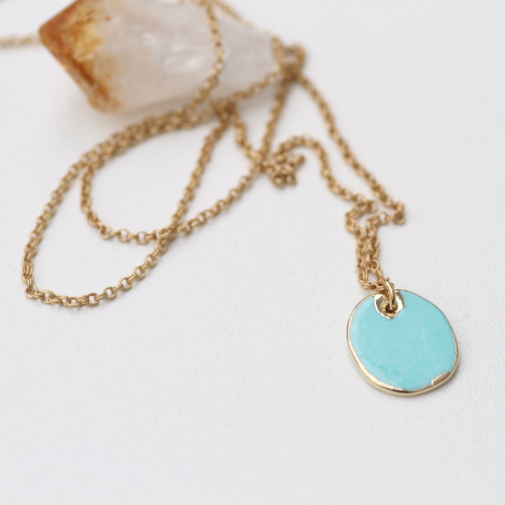 Gold Dipped Turquoise Howlite Necklace