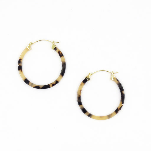 HONEY TORTOISE RESIN 50mm HOOP EARRING