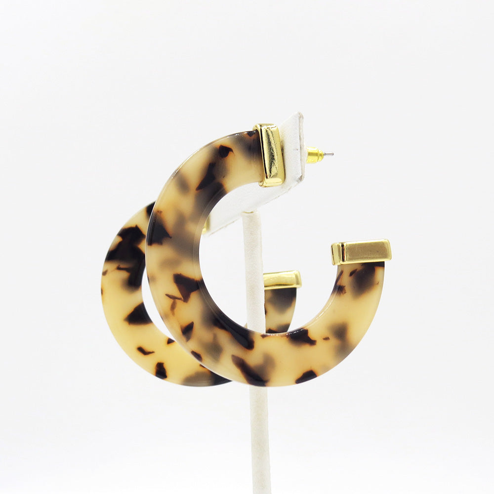 HONEY TORTOISE CAP RESIN HOOP EARRING 50mm