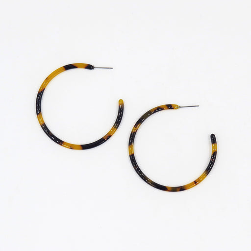 TORTOISE THIN RESIN 50mm HOOP EARRING
