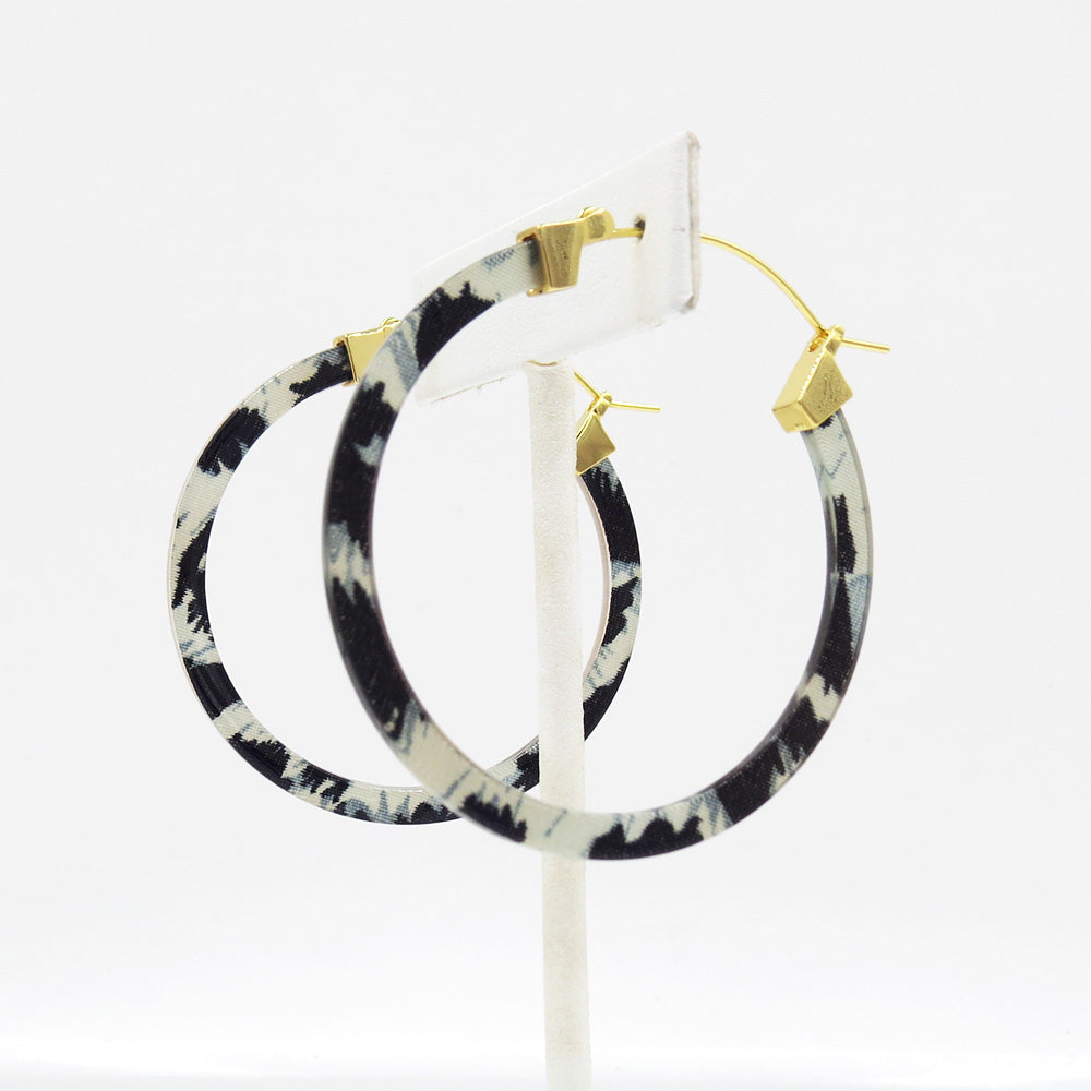 SNOW LEOPARD RESIN 50mm HOOP EARRING