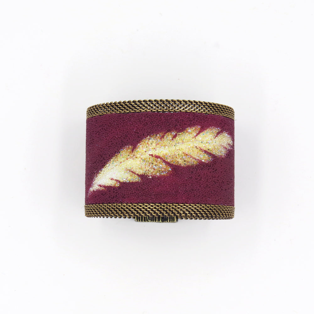 GOLD FEATHER WIDE CUFF