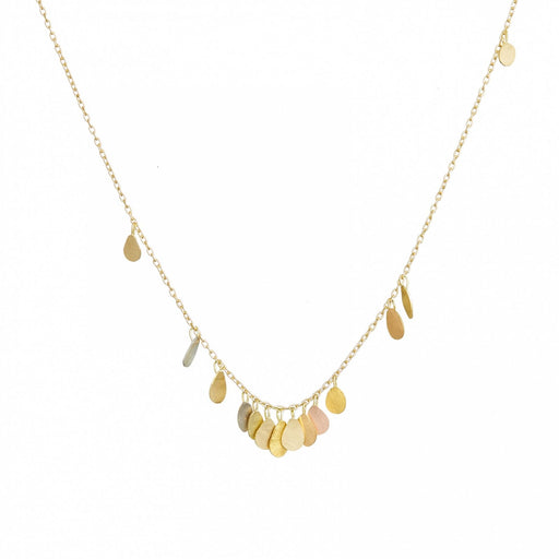 Yellow Gold & Rainbow Gold Tiny Raindrops Necklace