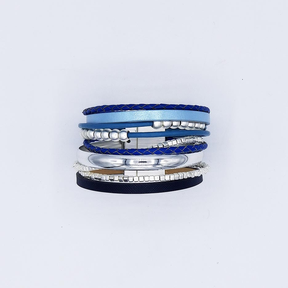 MATTE SILVER AND BLUE LEATHER MULTI STRAND BRACELE