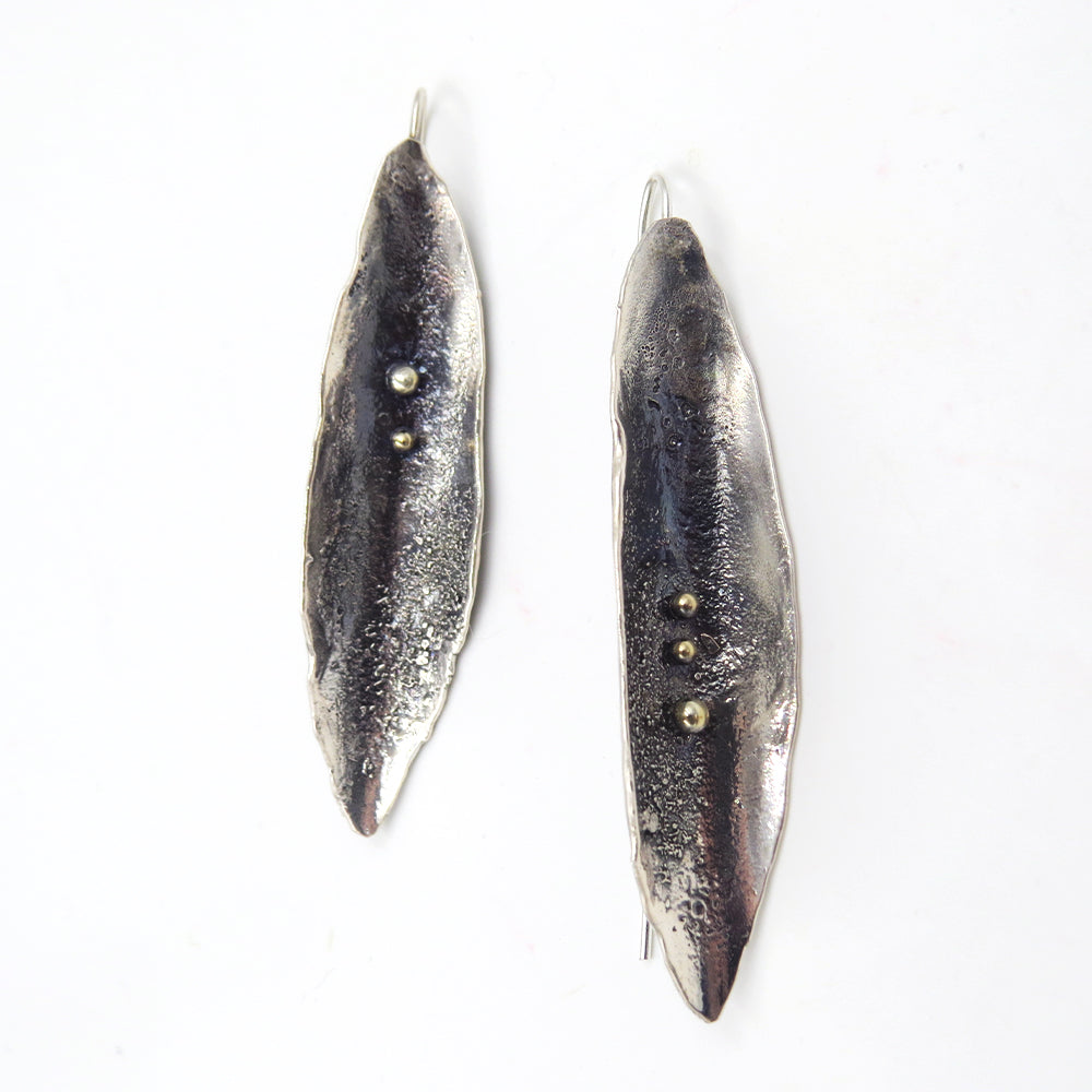 RETICULATED BRONZE ACCENTED EARRING