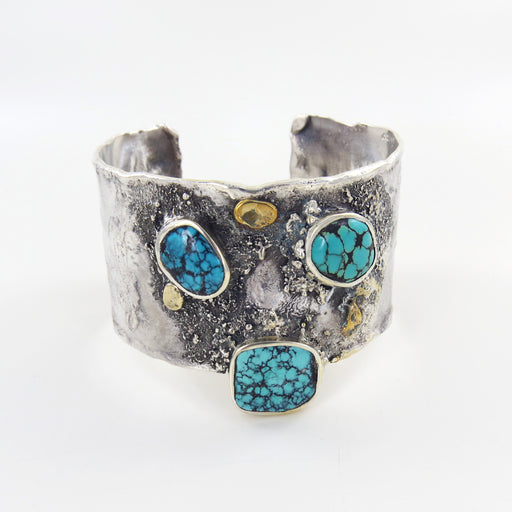 STERLING SILVER RETICULATED CUFF WITH TURQUOISE