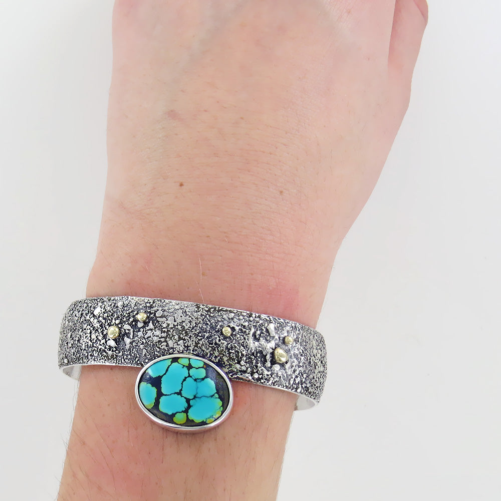 STERLING SILVER AND SET TURQUOISE CUFF BRACELET