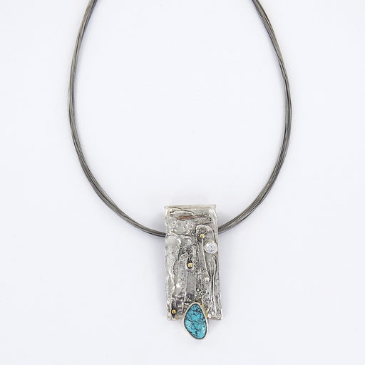 STERLING SILVER RETICULATED NECKLACE WITH TURQUOISE
