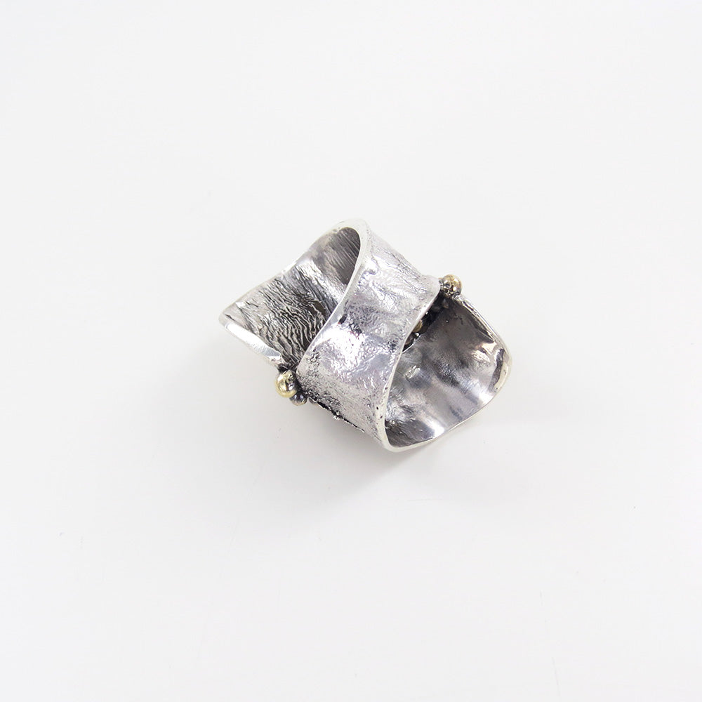 STERLING SILVER RETICULATED RING WITH BRONZE ACCEN