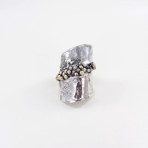STERLING SILVER RETICULATED RING WITH BRONZE ACCENTS