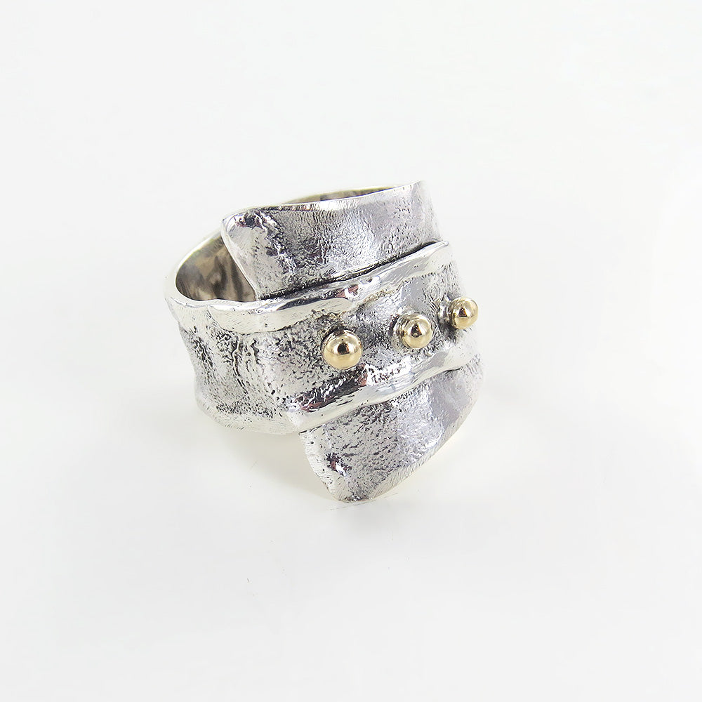 RETICULATED RING WITH 14K GOLD ACCENTS