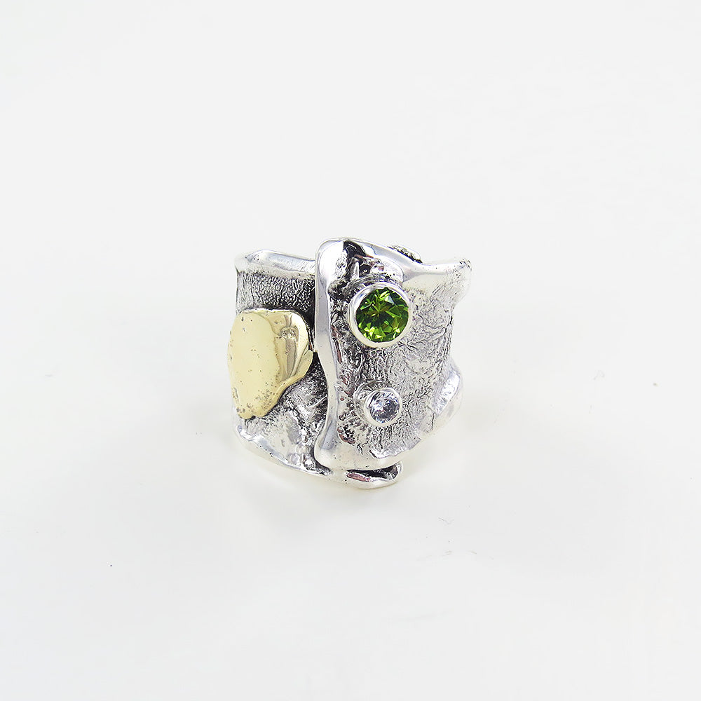 FOLD BAND WITH PERIDOT RING