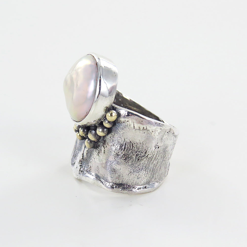 PEARL BUTTON RING