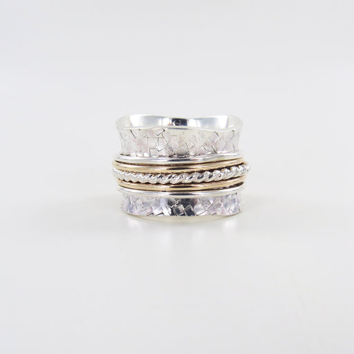 STERLING SILVER RETICULATED SPINNING RING