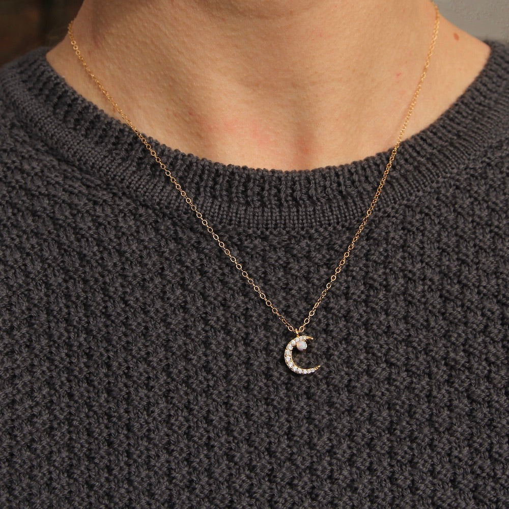 Opal Moon Pave Necklace