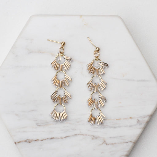 4 Drop White Metal Fringe Post Earring