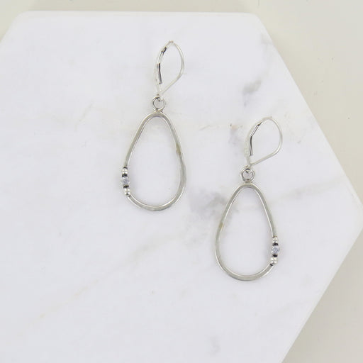 SILVER TEARDROP AND CZ EARRINGS