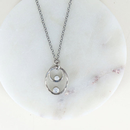 HAMMERED OVALS AND CZ NECKLACE
