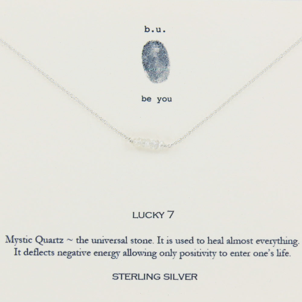 LUCKY 7 WHITE MYSTIC QUARTZ NECKLACE