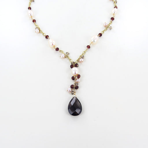 PEARLS, GARNET, & SMOKEY QUARTZ NECKLACE