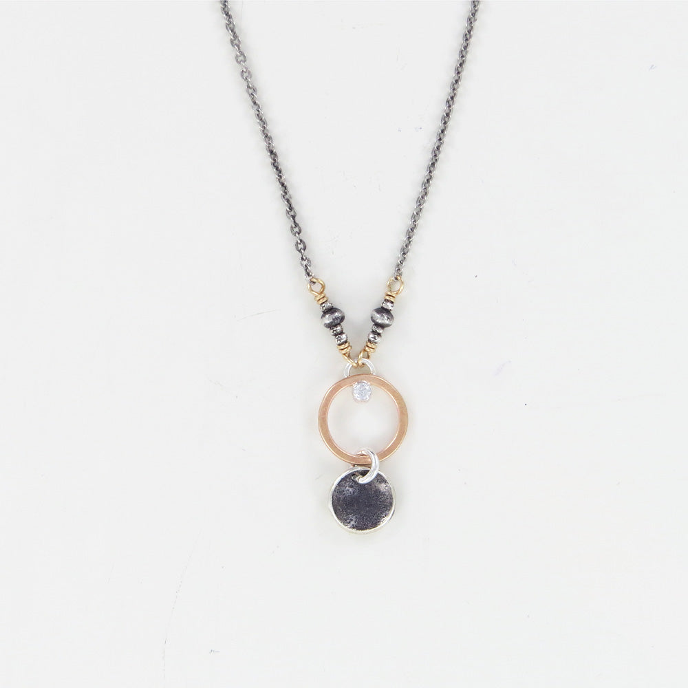 GOLD CIRCLE CZ OXIDIZED DROP NECKLACE